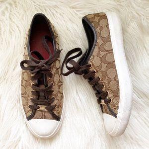 "COACH brown ""Empire"" canvas sneakers"